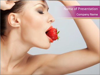 Sweet Strawberry in Woman's Mouth PowerPoint Template - Slide 1