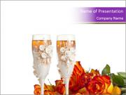 Decorated Glasses with Champagne PowerPoint Templates