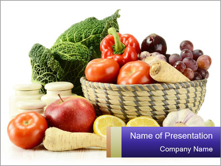 Raw Fruits and Vegetables PowerPoint Template