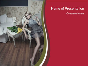Model and Luxury Bedroom PowerPoint Template - Slide 1