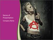 Crazy Punk Girl PowerPoint Templates