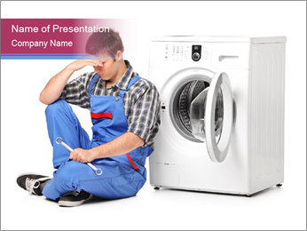 Repairman and Broken Washing Machine PowerPoint Templates - Slide 1