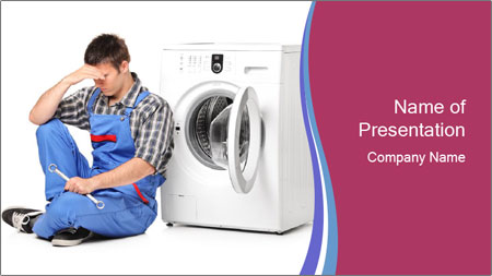 Repairman and Broken Washing Machine PowerPoint Template