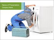 Man Repairing Washing Machine PowerPoint Templates