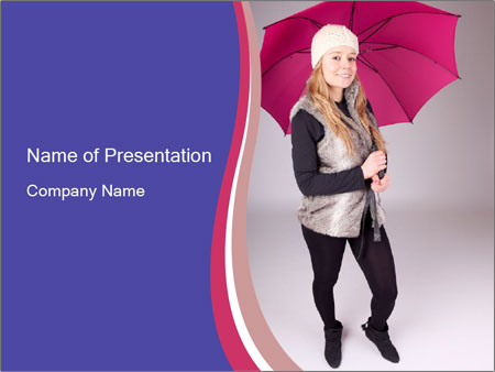 Teenager Girl with Pink Umbrella PowerPoint Template