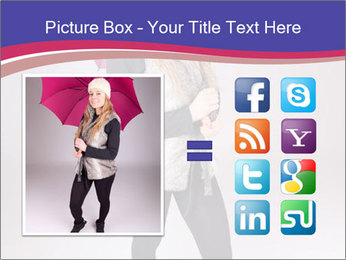 Teenager Girl with Pink Umbrella PowerPoint Template - Slide 21