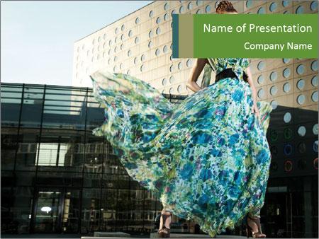 Urban Woman Wearing Dress PowerPoint Template