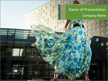 Urban Woman Wearing Dress PowerPoint Template - Slide 1