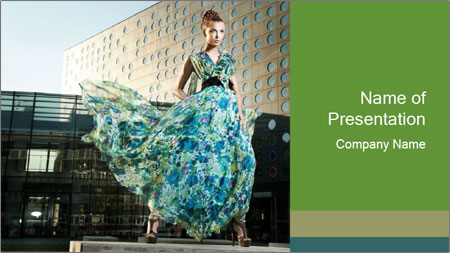 Urban Woman Wearing Dress PowerPoint Template
