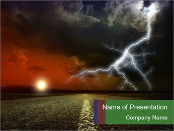 Empty Asphalt Road at Storm PowerPoint Template