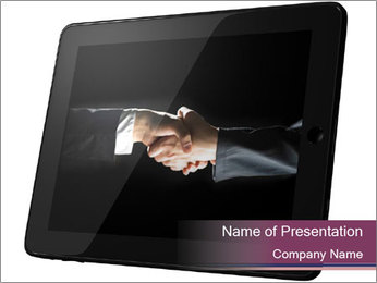 Tabley with Handshake Image PowerPoint Template - Slide 1