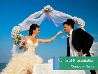 Cheerful Bride and Groom PowerPoint Template