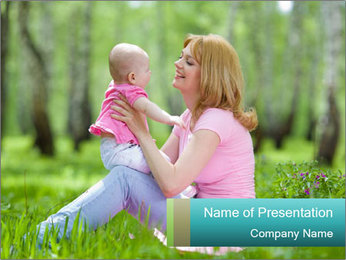 Mama and Baby in Spring Park PowerPoint Template