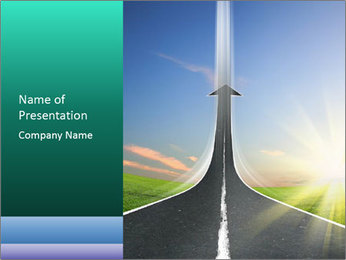Road Arrow Goes Up PowerPoint Template
