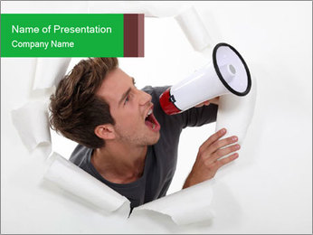 Young Guy with Megaphone PowerPoint Template