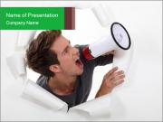 Young Guy with Megaphone PowerPoint Templates