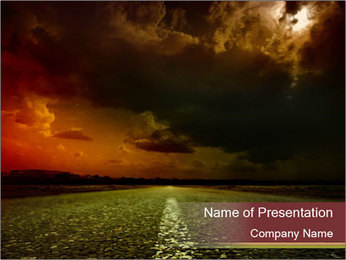 Road and Black Sky PowerPoint Template