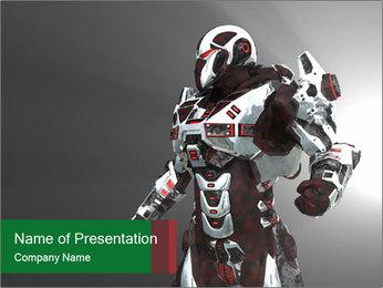 Virtual Robot Warrior PowerPoint Template