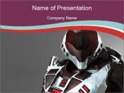 Dangerous Robot Warrior PowerPoint Templates