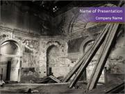 Grey Ruined Stone Building PowerPoint Templates