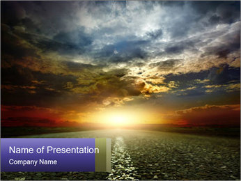 Beautiful Road at Sunset PowerPoint Template