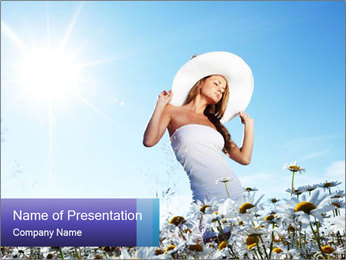 Woman Enjoys Camomile Meadow PowerPoint Template