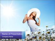 Woman Enjoys Camomile Meadow PowerPoint Templates