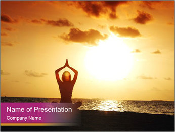 Yoga Exercise During Sunrise PowerPoint Template