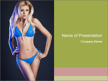Trendy Blue Bikini PowerPoint Template