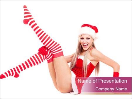 attractive woman in santa costume powerpoint template