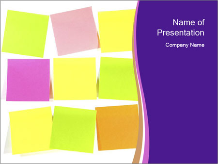 colorful memo sticks powerpoint template & backgrounds id, Presentation templates