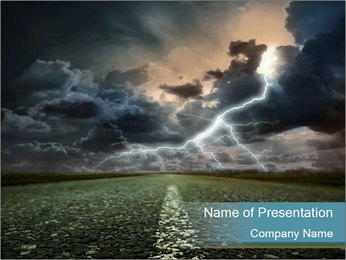 Asphalt Road and Lightning PowerPoint Template