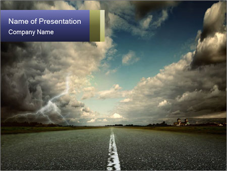 Dark Clouds over Road PowerPoint Template