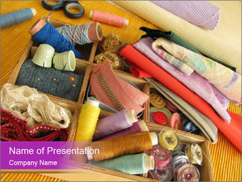 Sewing Utensils on the Table PowerPoint Template