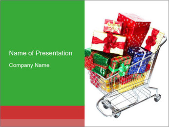 Trolley with Christmas Gifts PowerPoint Template