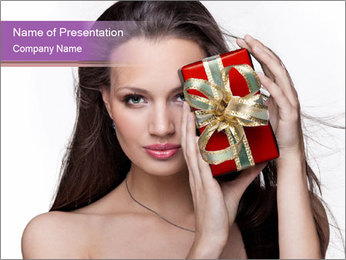 Lady with Red Christmas Gift Box PowerPoint Template