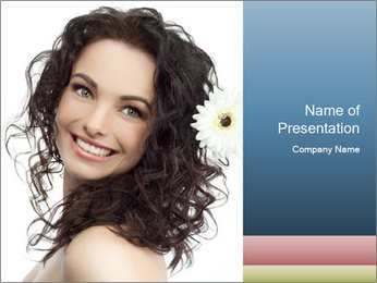 Woman with White Flower in Hair PowerPoint Template