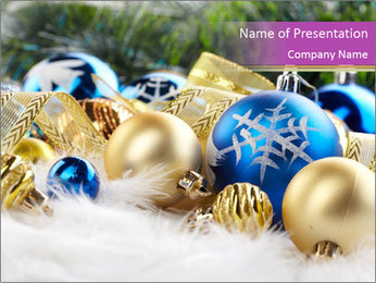 Shiny Balls for Christmas Tree PowerPoint Template