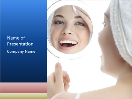 Woman with Mirror PowerPoint Template