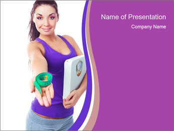 Woman Holding Scales PowerPoint Template