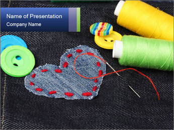 Childish Heart Patch PowerPoint Template