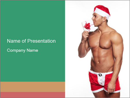 Bodybuilder Wearing Chrostmas Costume PowerPoint Template