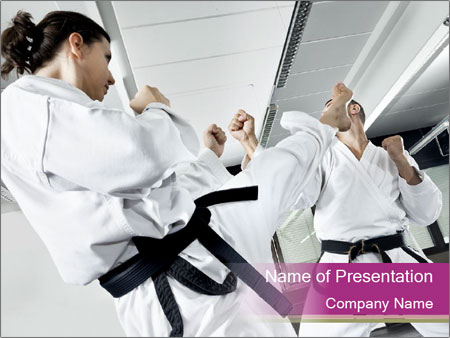 professional karate training powerpoint template & backgrounds id, Presentation templates