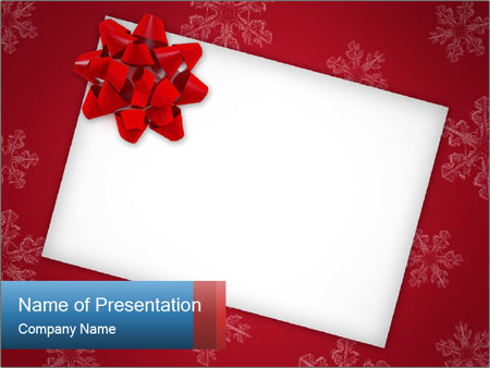 greeting card with red ribbon powerpoint template & backgrounds id, Modern powerpoint