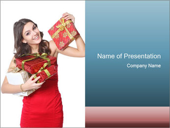 Girlfriend Holding Christmas Gifts PowerPoint Template
