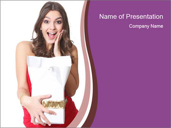 Surprised Woman with Christmas Gift PowerPoint Template