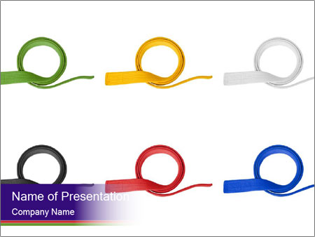 colorful martial arts belts powerpoint template & backgrounds id, Presentation templates