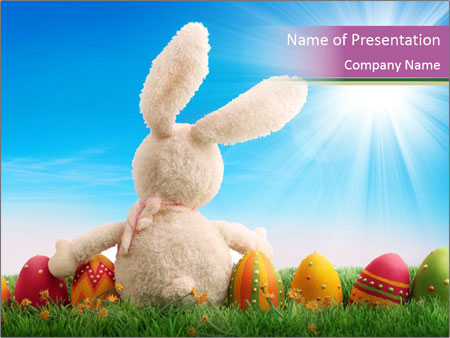 Easter Rabbit and Eggs PowerPoint Template, Backgrounds & Google ...