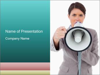 Business Woman Shouting in Loudspeaker PowerPoint Template