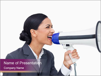 Business Woman Makes Announcement PowerPoint Template
